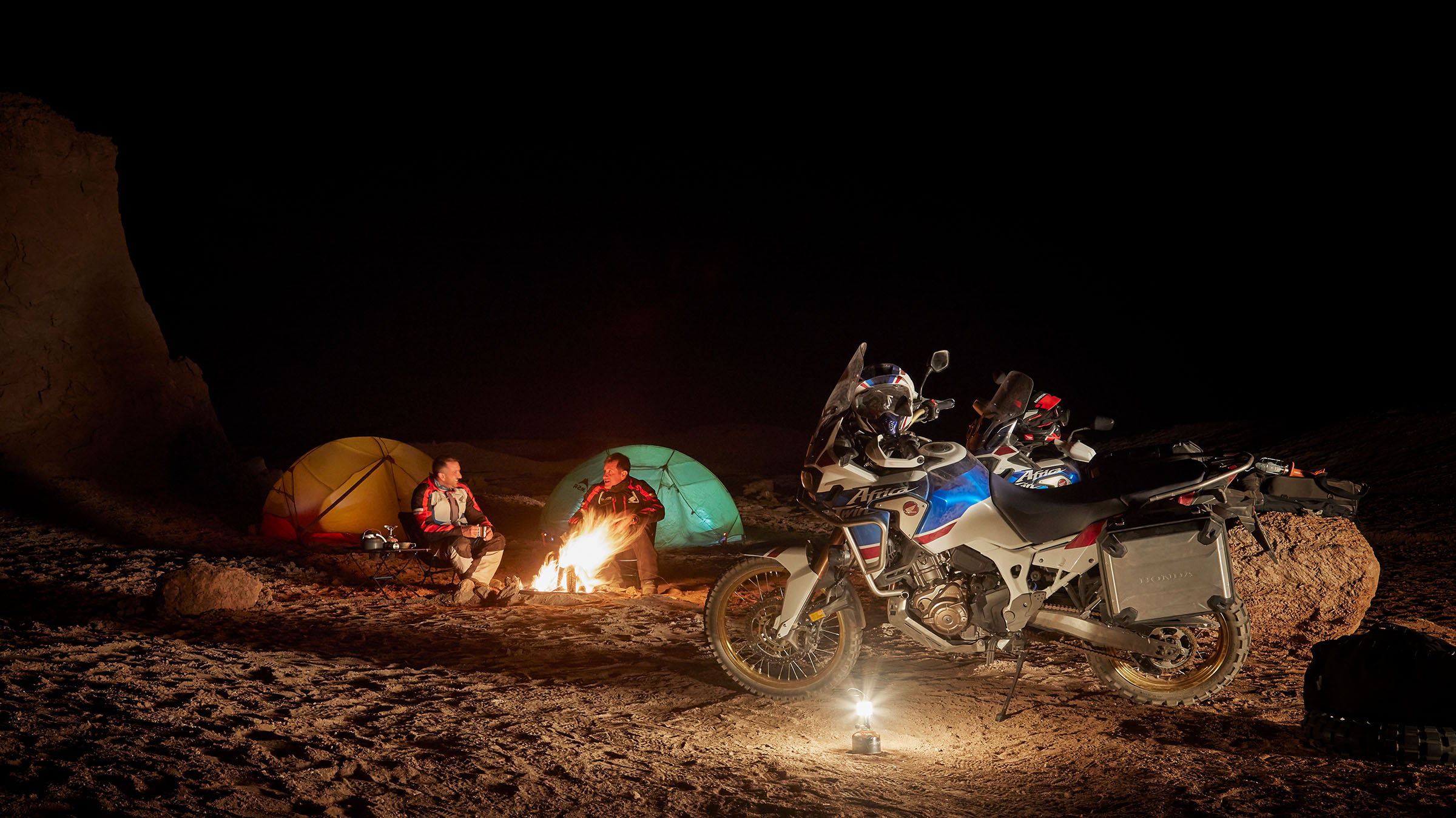 Africa Twin camp fire